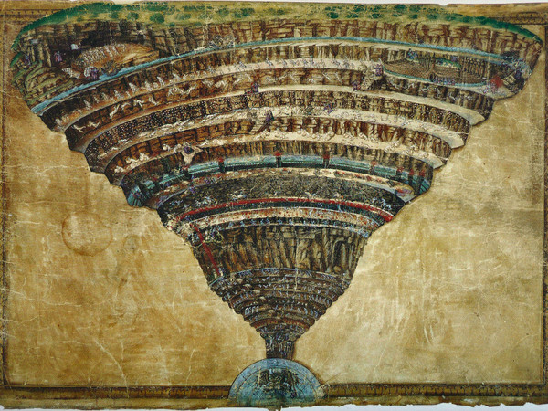 Sandro Botticelli, La Divina Commedia: la voragine infernale, 1481-1488. Punta d'argento e inchiostro su pergamena. Città del Vaticano, Biblioteca Apostolica Vaticana, inv. Reginense Lat. 1896, pt. A, f. 101r