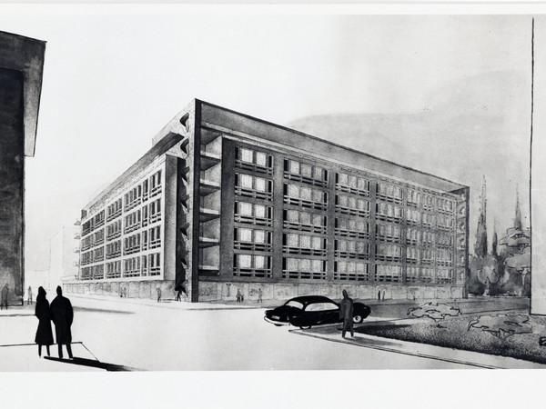 Armando Ronca, Edificio residenziale multipiano con albergo e negozi, Bolzano, 1952-1954