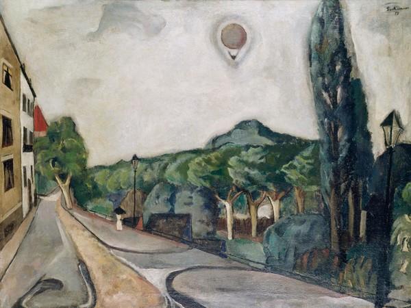 Max Beckmann, <em>Paesaggio con mongolfiera</em>, 1917, Olio su tela, 100.5 x75.5 cm, Museum Ludwig, Köln/Ankauf 1954 | © 2018, ProLitteris, Zurich
