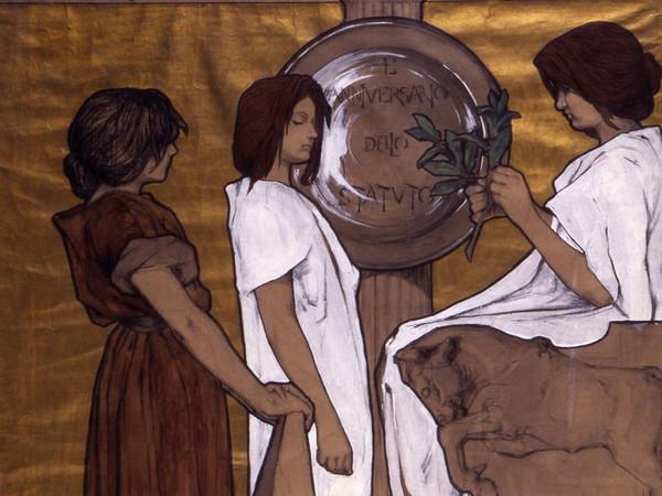 Duilio Cambellotti, Bozzetto esecutivo per il Manifesto dell'Esposizione Nazionale di Torino del 1898, 1897, China, carboncino e biacca, 79 x 113.5 cm, Roma, Archivio Cambellotti