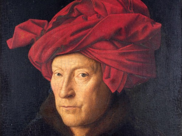 Jan van Eyck, Uomo col turbante rosso, 1433, dipinto a olio su tavola. National Gallery, Londra