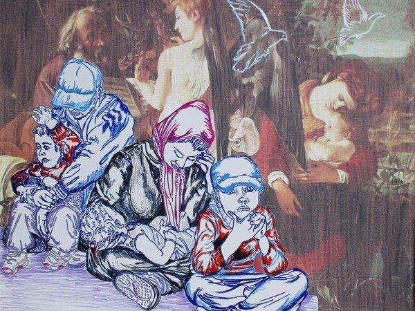 Carlo Carli, Il Riposo, 2016 cm. 79x95, tecnica mista (grafica, digitale, pastello a cera) su tela