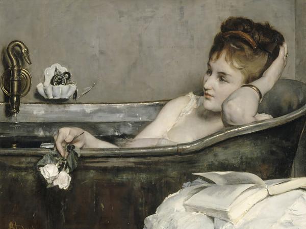 Alfred Stevens, Il bagno, 1873-1874, Olio su tela, 92.8 x73.5 cm, Parigi, Musée d'Orsay | © René-Gabriel Ojéda / RMN-Réunion des Musées Nationaux/ distr. Alinari