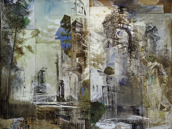 Valery Koshlyakov, Elisions. 2015 -2016, detail of installation. Tempera collage on canvas, 410x500 см