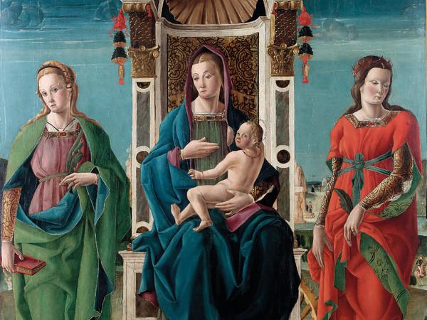 Antonio Cicognara, Madonna del latte tra sant'Agnese e santa Caterina d'Alessandria, 1490. Olio su tavola, 168x122 cm. Ro Ferrarese, Fondazione Cavallini Sgarbi