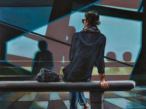 Oscar Piovosi, Ragazza in attesa, 2017, acrilico su tela, cm. 70x70
