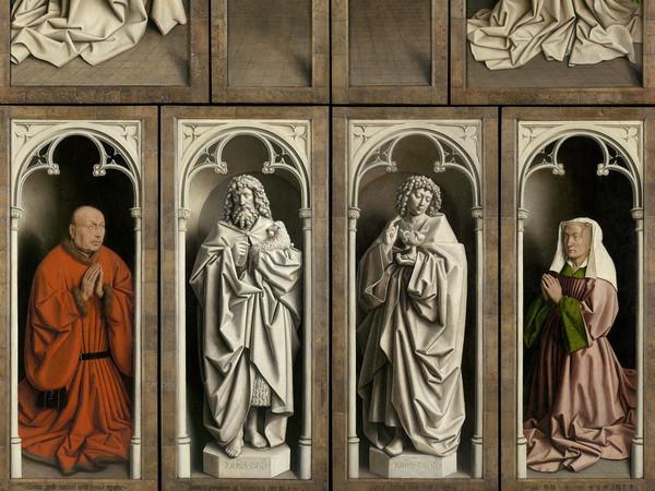 Jan e Hubert van Eyck, L'Adorazione dell'Agnello Mistico, 1432, Dettaglio del pannello centrale con l'Adorazione dell'Agnello, Dopo il restauro, Olio su tavola, Gand, Cattedrale di San Bavone   Courtesy of Saint-Bavo's Cathedral Ghent © Lukasweb.be-Art in Flanders vzw   Photo: KIK-IRPA
