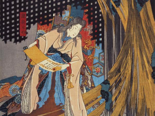 Utagawa Kuniyoshi, La principessa Takiyasha risveglia uno scheletro mostruoso al palazzo di Sōma (Sōma no furudairi), Pannello sinistro, Circa 1845-46, Silografia policroma (nishikie), h 37.2 cm ciascuno, Masao Takashima Collection