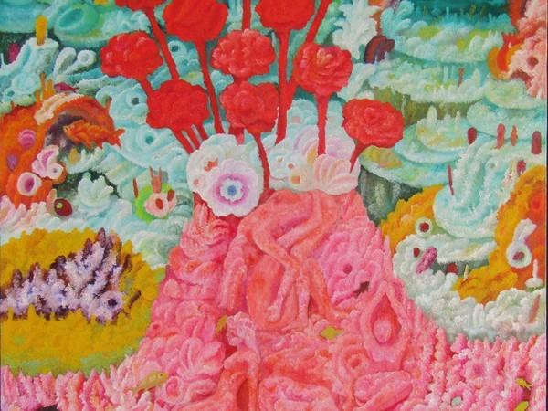 Mario Mattei, Le rose rosse di Elena, 2004, cm. 80x80