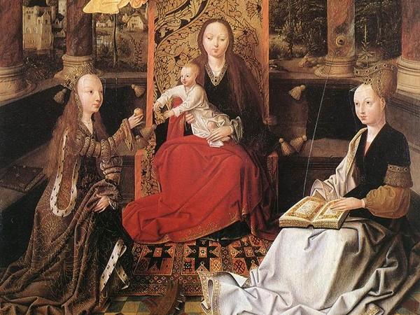 Maestro di Hoogstraeten, <em>Madonna con Bambino tra Santa Barbara e Santa Caterina</em>, 1500 circa, Firenze, Uffizi