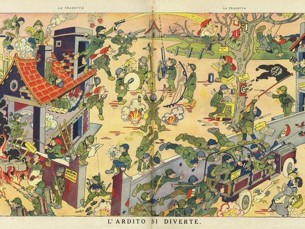 """Antonio Rubino, L'ardito si diverte, """"La Tradotta"""", n.18, 15 ottobre 1918"""