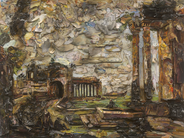 Vik Muniz, <em>Fantasy Landscape with Ruins and Figures after Canaletto | </em>&copy;&nbsp;Vik Muniz 2017 / Per gentile concessione di Ben Brown Fine Arts, Londra