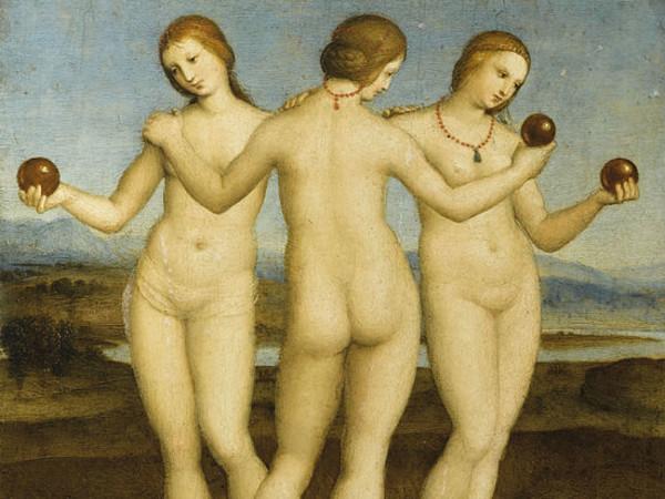 Raffaello Sanzio, Le Tre Grazie, 1503-1504, Olio su tavola, 17 x 17 cm, Chantilly, Museo Condé