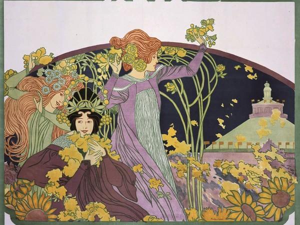 Josef Maria Auchentaller, <em>Grosser Festcorso und Frühlingsfest</em>, 1899. Litografia a colori, 94x126. Collezione privata