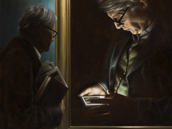 <span>Rocco Normanno, Noi, Vittorio Sgarbi. Olio su tavola, 65x65 cm, 2016</span>