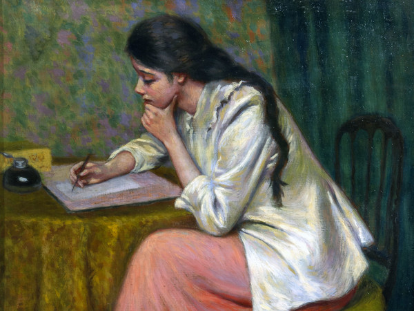 Federico Zandomeneghi, La lettera, olio su tela, 54,5 x 46 cm