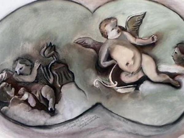 Paolo Cazzella, Puttini a colloquio, soffitto del salone borromiano, Biblioteca Vallicelliana. Pastelli secchi, cm. 70x100, settembre 2016