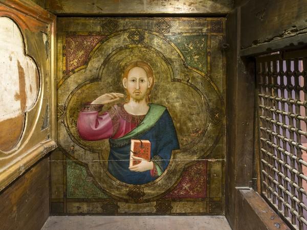 Maestro Espressionista di Santa Chiara (Palmerino di Guido). Cassa di Sant'Ubaldo, Cristo benedicente (particolare). Gubbio, Raccolta Memorie Ubaldiane