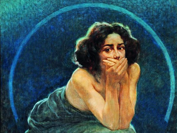 Giorgio Kienerk, Il Silenzio, Pannello centrale del trittico L'enigma umano, 1900, Pavia, Musei Civici - Quadreria dell'Ottocento