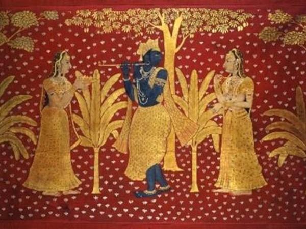 Krishna suona il flauto omaggiato da due gopi. India, Rajasthan, XVIII secolo d.C. Tempera e foglia d'oro su cotone