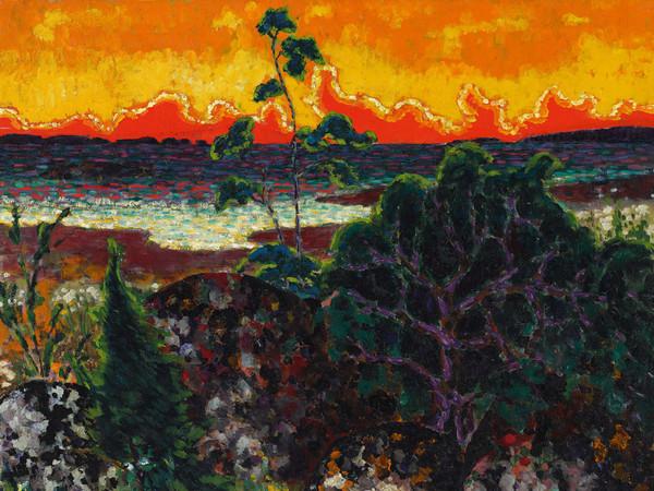 Konrad Mägi, <em>Paesaggio con nuvola rossa</em>, 1913-1914, Olio su tela, 78 x 70.4 cm, Museo nazionale d'Arte, Estonia