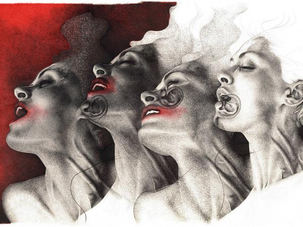 Adele Ceraudo, Senza Titolo, Collezione Nuotando nell'Aria, 2013-2015, disegno a bic su carta Fabriano, cm. 33x48