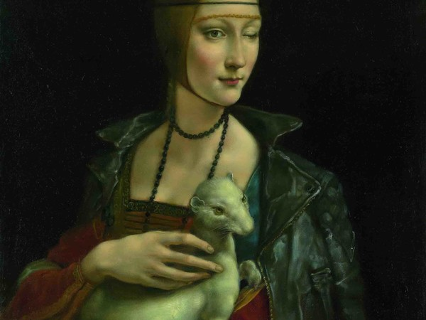 Pang Maokun, Lady with an Ermine, oil on canvas 80x65cm., 2017
