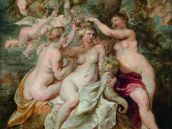 Peter Paul Rubens, <em>Le ninfe incoronano la Dea dell'Abbondanza</em>, 1622 circa, Olio su tavola, 34.5 x 48.5 cm<br />
