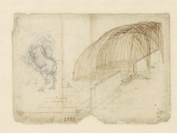 Leonardo da Vinci, Codice Atlantico (Codex Atlanticus), foglio 72 recto. A destra, studio di bombardamento con traiettoria per la caduta delle bombe oltre le mura di una fortezza; a sinistra, disegno