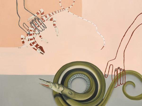 Sophie Ullrich, Diskussion, 2021, olio su tela, 130x100 cm.