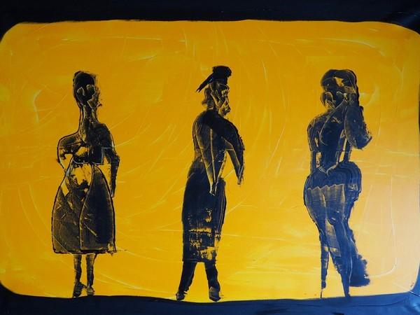 Alex Sojic, serie Quarantine Collection, Confine, 2021, arcilico su tela, 100x150 cm.