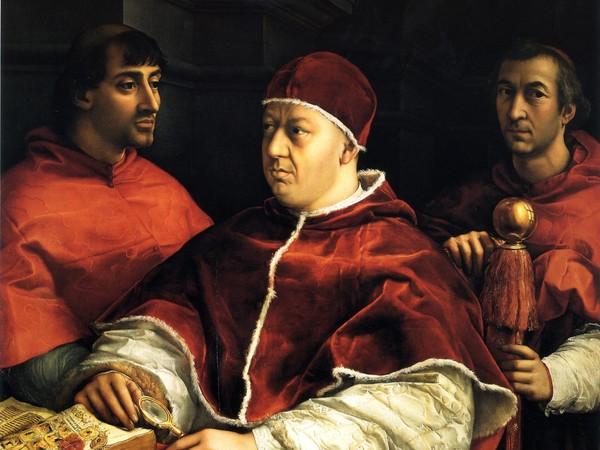 Raffaello Sanzio, Ritratto di Leone X con i cardinali Giulio de' Medici e Luigi de' Rossi, 1518. Olio su tavola, cm 155,2×118,9. Galleria degli Uffizi, Firenze