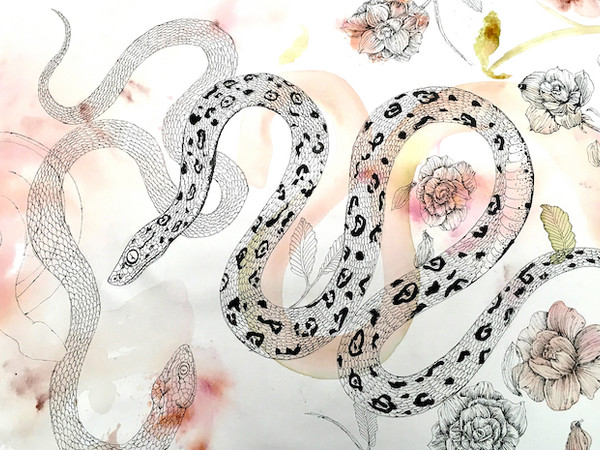 Giulia Ronchetti, Rullo di tela cotone, 85x2500 cm. Tecnica mista: acrilico, acquerello, china liquida a pennino, grafte, pastello, carta cucita, inserti di tessuto e flo di cotone