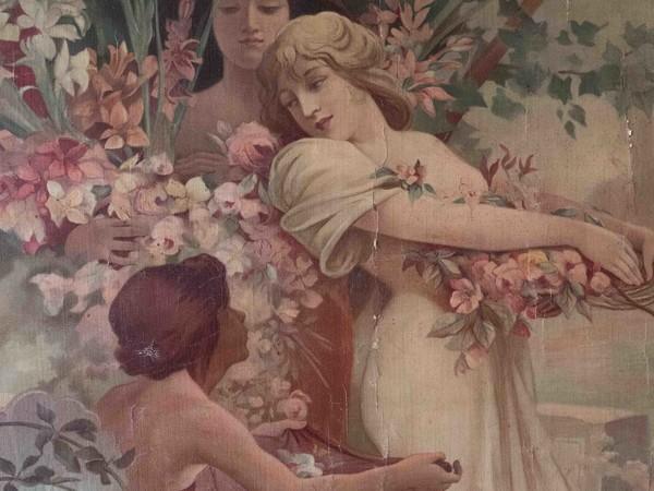 Alphonse Mucha, Les fleurs (dettaglio), litografia per Home Decor nel 1894. Collezione della Fondazione Arte Nova