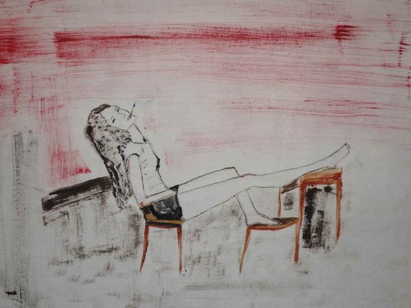 Adriana Luperto, Pausa, 2020, acquerello su carta di riso, 30x38 cm.