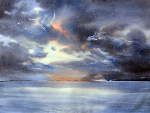 Marina Legovini, Thunderstorm, watercolor pure on paper. Arches hot pressed, cm. 57 x 76, framed cm. 80 x 103