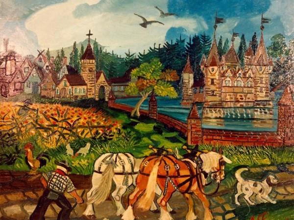 Antonio Ligabue, Ritorno dai campi con castello, 1950-55, olio su faesite, 77 x 93 cm.