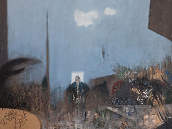 Gianfranco Ferroni, Mia madre in giardino, 1963, olio su tela, cm 70 x 100. Collezione privata