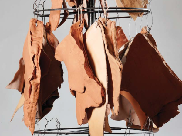 Chiara Lecca, Vermilion Sharp Pulp, 2018 (detail). Terracotta, leather, metal, rope, 170x60x60 cm.