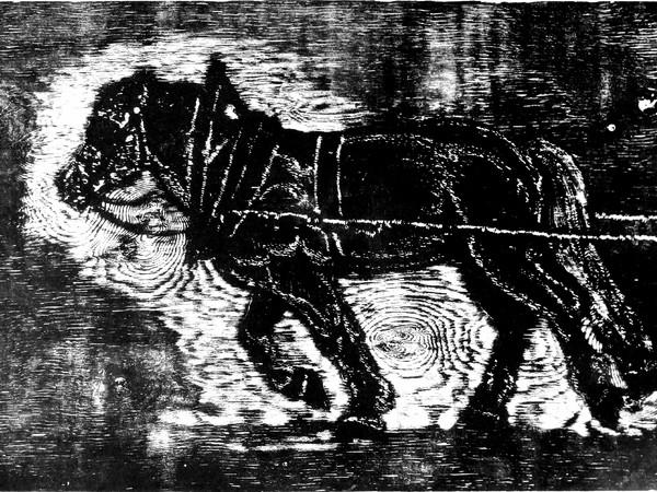 Gianni Verna, Un irrompere di scarni, cavalli, alle scintille degli zoccoli, Eugenio Montale, xilografia, mm. 480x680