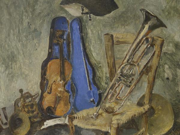 Fausto Pirandello, Natura morta con strumenti musicali, 1942 circa, Olio su tavola   Courtesy of Fondazione Magnani-Rocca 2020