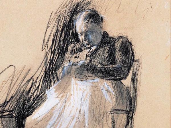 Giacomo Balla, Studio libero per il ritratto di Clelia Ghedini Marani, 1907, Disegno a matita nera, tempera e carbone su carta, 22.5 x 25 cm