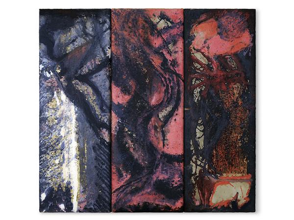 Rossella Leone, Specchio infane, trittico, pittura in carta su garza