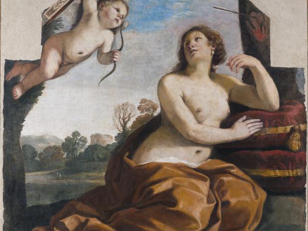 GIOVANNI FRANCESCO BARBIERI (DETTO IL GUERCINO), Venere e Amore, 1632, affresco staccato e trasportato su tela, 175x176x4 cm. Accademia Nazionale di San Luca, Roma