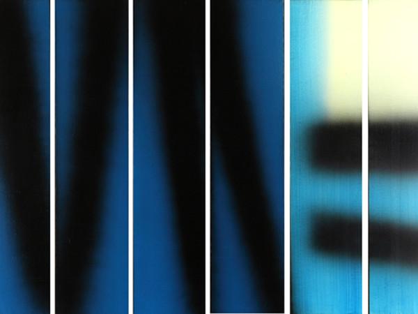 Hans Hartung, T1983-E14-E15-E16-E17-E18-E19 HEXAPTYQUE, 1983, acrilico su tela, 150 x 210 cm. Collezione Fondazione Hartung-Bergman