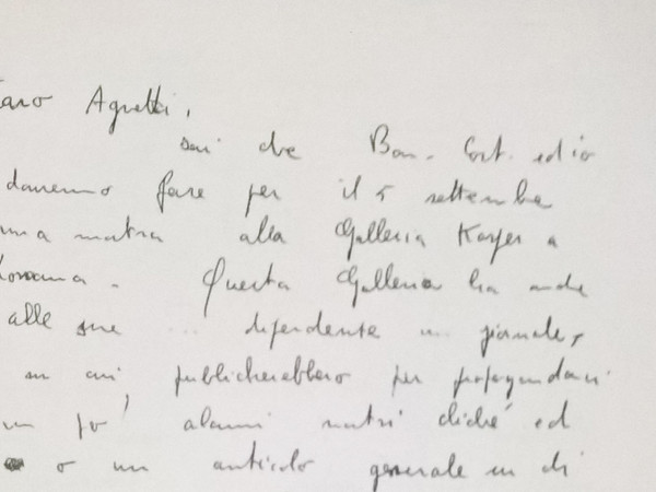 Dettaglio da una lettera autografa di Piero Manzoni indirizzata a Vincenzo Agnetti, 1959