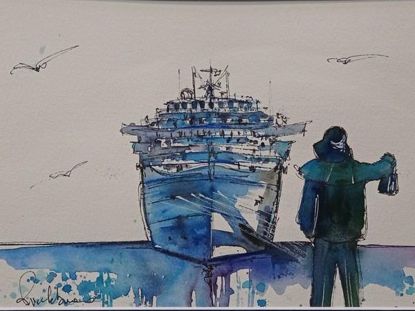 Barbara Ricchebuono, Savona, Il Monumento ai Pescatori di Renata Cuneo, acquerello su carta