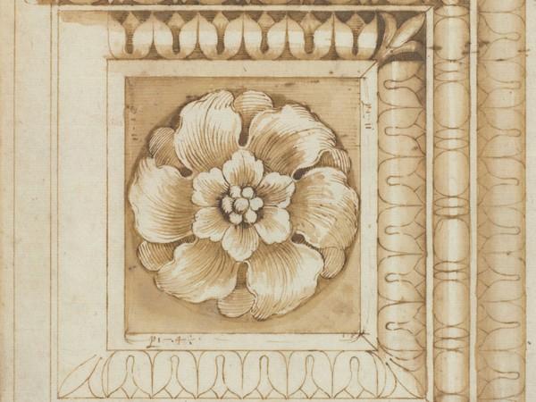 Pietro Rosselli, Lacunare marmoreo antico stilo e penna su carta bianca, Gabinetto dei Disegni e delle Stampe, Gallerie degli Uffizi, Firenze