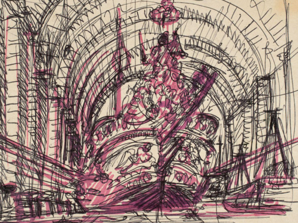 Tomaso Buzzi,<em>Il Bucintoro nell'Arsenale</em>, Inchiostro nero (penna biro) e pennarello su carta, 150 x 190 mm, Venezia, Fondazione Giorgio Cini<br />