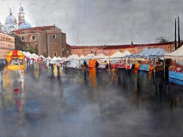Paola Caenazzo, Prato della Valle, 2016, olio su tela, cm. 65x90,